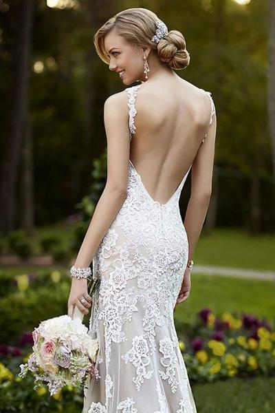 открытой платья фото ажурные свадебные с спиной