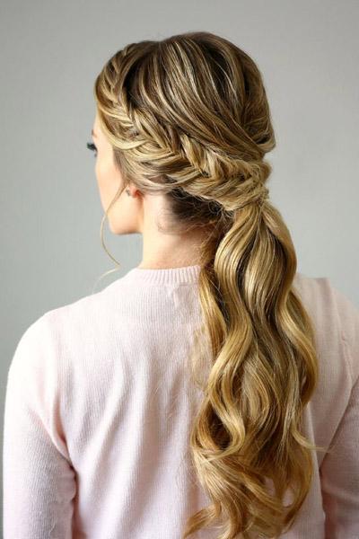Свадебная прическа греческая коса 97